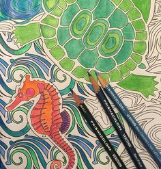 Prismacolors verithins. Adult coloring. The super awesome coloring book by Mark Cesarik and edited by Jenean Morrison. Turtle and seahorse ocean coloring page. Love grown up coloring.