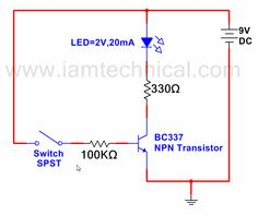 npn transistor with three led s as a switch iamtechnical com rh pinterest com