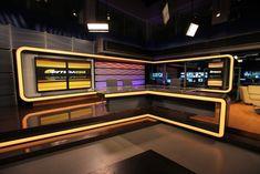 Explore photos of TRK's TV set design in this interactive gallery of the studio. Tv Set Design, Lounge Design, Stage Design, Black And Gold Theme, Bar Counter Design, Online Tv Channels, Virtual Studio, Tv Sets, Tv Decor