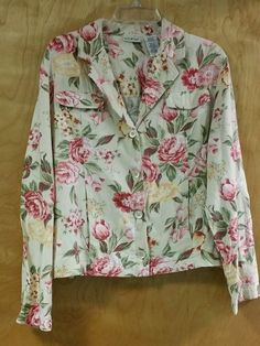 Vintage White Stag Womens Boho Chic Linen Blend Jacket Rose floral print Size L in Clothing, Shoes & Accessories, Women's Clothing, Coats & Jackets   eBay
