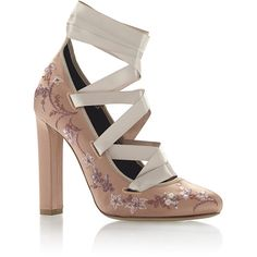 Etro Rose Floral Embroidered High Heel with Satin Ribbon Ankle Lacing ($1,420) ❤ liked on Polyvore featuring shoes, pumps, thick high heel shoes, pink ribbon shoes, thick-heel pumps, lace up pumps and satin shoes