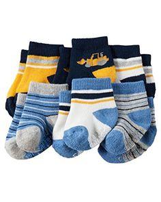 0c739f213 Amazon.com: Carter's Baby-Boys Newborn Heather Terry Ribbed Socks (Pack of  6): Clothing
