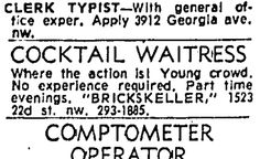 Brickskeller Cocktail Waitress: Where the Action Is! Bethke Brothers (my family's company) remodeled the Brickskeller in the 1960s