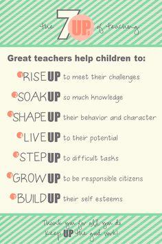 Teacher Appreciation Week: 7Ups of Teaching - free printable