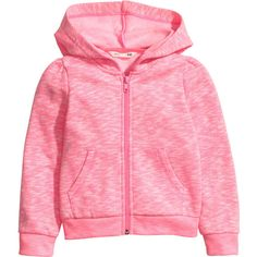 Hooded Jacket $14.99 (€13) ❤ liked on Polyvore featuring tops, hoodies, daughter, long sleeve tops, pink long sleeve top, zip hoodies, pink top and hooded top