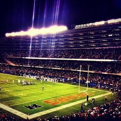 Night game time at Soldier Field, Chicago Bears