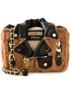 Moschino Fur Bear Biker Jacket Crossbody Chain Shoulder Bag Represtented By Gigi Hadid