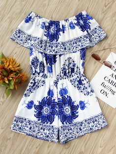 Shop Flounce Layered Neckline Aztec Print Random Romper at ROMWE, discover more fashion styles online. Cute Dress Outfits, Girly Outfits, Stylish Dresses, Cute Dresses, Casual Dresses, Summer Outfits, Short Dresses, Fashion Outfits, Womens Fashion