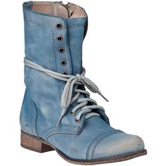 STEVE MADDEN SHOES Troopa Combat Boot Blue Leather ($99) ❤ liked on Polyvore
