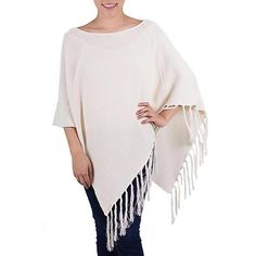NOVICA Cotton Poncho with Fringe Ivory Color from Guatemala (€74) ❤ liked on Polyvore featuring outerwear, clothing & accessories, ivory, ponchos, novica, woven poncho, fringe poncho, pink poncho and cotton poncho