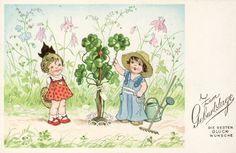 FRITZ BAUMGARTEN ? - Kinder mit Glücksklee - Grusskarte zum GEBURTSTAG - 1930 | eBay