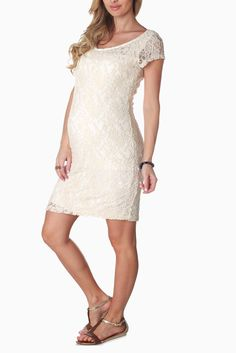 Ivory-Textured-Lace-Maternity-Dress