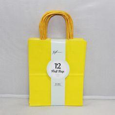 Medium Kraft Bags: Primary Yellow 12ct