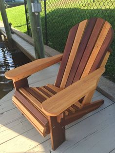 Premium Western Red Cedar Wood Adirondack Chair - home/home Plans Chaise Adirondack, Wood Adirondack Chairs, Outdoor Chairs, Outdoor Decor, Outdoor Dining, Red Cedar Wood, Western Red Cedar, Chaise Diy, Rustic Furniture