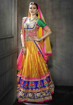 Dark Yellow Art Silk lehenga Choli with Dupatta: LFU37