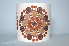 Handmade drum lamp shade retro - mid century space age flower retro pattern 30cm x 30cm