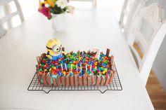 Miss J's 7th Birthday Cake Request, Minion Kit Kat Cake.