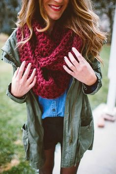 Oversized Crochet Scarf With Denim Shirt and Army Jacket