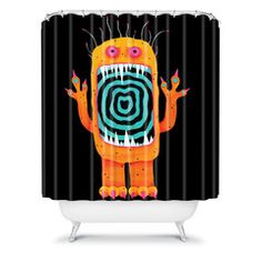 Hypno Monster shower curtain by Mandy Hazell
