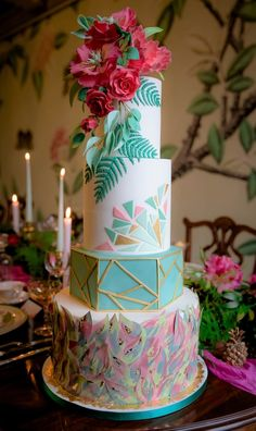 Tropical Bohemian Luxe wedding cake by Tiers Of Happiness www.tiersofhappiness.net Photography by www.rocksaltphotography.com
