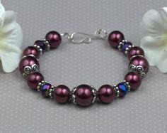 Burgundy Pearl and Crystal Bracelet #dteam