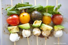 Caprese Kabobs are a fresh and healthy treat you can enjoy as you are living la dolce vita this summer. #TheColorRun