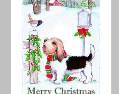 Petit Basset Griffon Vendeen Christmas Card Box of 16 cards and Envelopes Boxed Christmas Cards, Christmas Hanukkah, Christmas Dog, Xmas, Petit Basset Griffon Vendeen, Scottish Terrier, German Shepherd Dogs, Scottie, Girls Best Friend