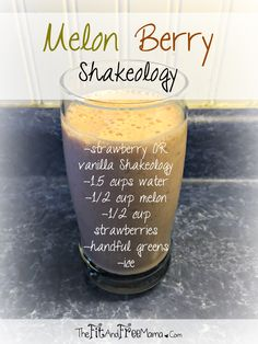 Try this Melon Berry Shakeology! Great with Vanilla, Strawberry or Greenberry flavors, and a perfect summer green protein smoothie! Follow me on Facebook.com/thefitandfreemama for a new recipe every Thirsty Thursday!