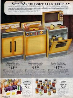 You guys HAVE to see this post about the Sears Wish Book on Modern Kiddo. I had this kitchen set when I was a child.as a grownup, I never cook. Girls Kitchen Set, Toy Kitchen, Kitchen Sets, 1970s Toys, Retro Toys, Vintage Toys, My Childhood Memories, Childhood Toys, Sweet Memories