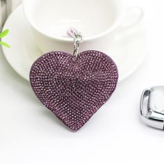Stylish Men Women Purple Heart Shape Car Handbag Pendant Keyring Chain Decor DIY #Unbranded