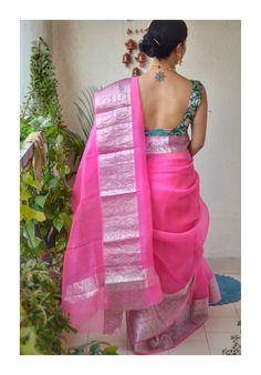 Organza saree with banarasi Kadhwa motifs Sexy Blouse, Saree Blouse, Sari, Sabyasachi Sarees, Indian Sarees, Gold Bangles Design, Saree Trends, Organza Saree, Saree Look