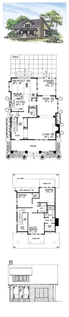 CapeCod Style COOL House Plan ID: chp-19784 | Total Living Area: 1997 sq. ft., 3 bedrooms & 2.5 bathrooms. #houseplan #capecod