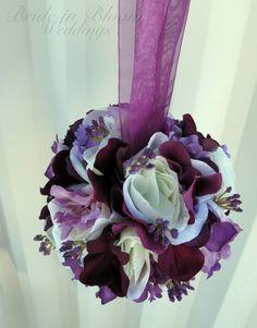 Wedding pomanders Ivory purple Wedding by BrideinBloomWeddings