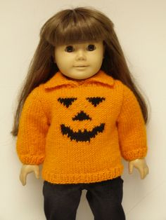 """Inspiration only, but it would be  easy to adapt another pattern. 18"""" American Girl doll Halloween sweater"""