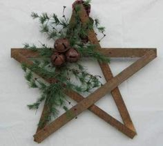 "Great idea for a christmas ""wreath"" for front door.  Rustic Christmas Style"