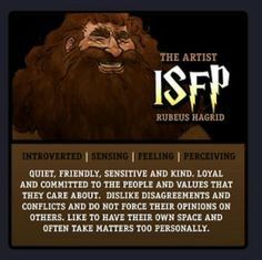 Harry Potter Myers Briggs Type Indicator MBTI chart. Art by makani.deviantart.com and chart by simbaga.tumblr.com || Type #ISFP. Rubeus Hagrid