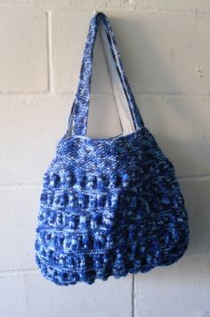 Hand Knitted Blue Tote Bag £38.00