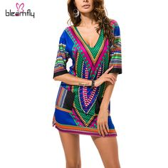Dashiki Dresses Women Boho Tranditional African Print Sexy V-neck Summer Indian T Shirt vintage Dress 2016 Tunic Clothing Robe