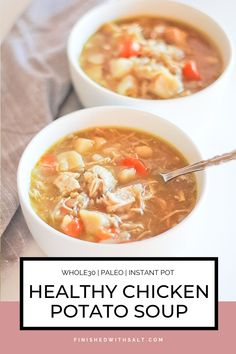 Healthy Chicken Potato Soup – Finished with Salt This Healthy Chicken Potato Soup is the perfect cold weather, immunity boosting soup! Full of bone broth, vegetables and and warming spices. And it couldn't be easier than in the Instant Pot! Healthy Soup Recipes, Appetizer Recipes, Real Food Recipes, Chicken Recipes, Dinner Recipes, Soup Appetizers, Hamburger Recipes, Healthy Dinners, Chili Recipes