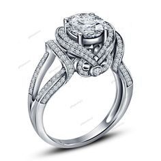 925 Silver 14K White Gold Over Round Cut Diamond Engagement Wedding Flower Ring #giftjewelry22 #FlowerStyleRing