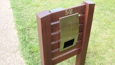 Kwila/Merbau Timber and Stainless Steel Letterbox Box Design, House Design, Steel House, Home Landscaping, House Numbers, Deco, Interior Design Living Room, Locker Storage, New Homes