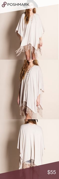 """Lace Up Fringed Tunic Top Lace up fringed tunic top. This is an ACTUAL PIC of the item - all photography done personally by me. Model is 5'9"""", 32""""-24""""-36"""", wearing the size small. NO TRADES DO NOT BOTHER ASKING. True to size. Bare Anthology Tops Tunics"""