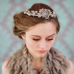 Bridal rhinestone headpiece - Rhinestone rose and leaf tiara - Style 112 - Made to Order. $195.00, via Etsy.