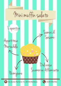 Mini salted muffin for happy hour! #glutenfree #happyhour #muffin #saltedmuffin #mortadella #scamorza #parmigiano #infographic
