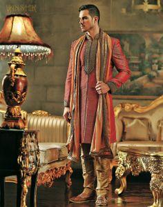 Sherwani - red & gold