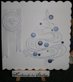 Curly Christmas Tree stamp by Woodware. Greeting stamp by LOTV.