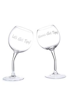 BIG MOUTH TOYS 'Let's Get Tipsy' Wine Glasses