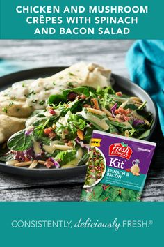 Have you tried NEW Fresh Express® Spinach & Bacon Salad Kit® ? Delicious on its own, it also adds oodles of flavor to our Chicken & Mushroom Crêpes! Salad Kits, Bacon Salad, Mushroom Chicken, Fruit In Season, Crepes, Sour Cream, Spinach, Stuffed Mushrooms, Fresh