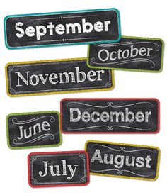 """Add chalkboard charm to any monthly calendar display with these chalk month headlines! These Chalk It Up Months of the Year headlines pair nicely with any classroom calendar. to x to 5 ¼"""" 12 pieces Chalkboard Classroom, Classroom Calendar, Classroom Themes, Chalkboard Decor, Chalkboard Lettering, Classroom Design, Preschool Christmas Songs, Cool Calendars, Creative Teaching Press"""