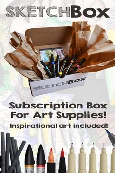 SketchBox is a subscription box for art supplies.  Each month we deliver professional art supplies for you to create with.  We include a piece of inspirational art made with the materials in the box. Want to start getting boxes? Sign up at www.getSketchBox.com